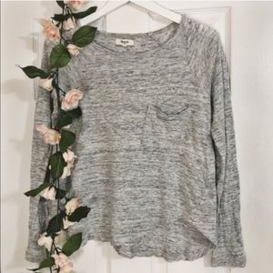 Madewell gray long sleeve pocket tee (S)